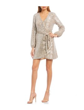 Moor Sequin Long Sleeve Wrap Dress by Gianni Bini
