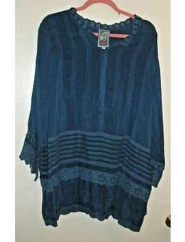Johnny Was Dark Blue Cupra Rayon Henley Embroidered Tunic   Size 1 X by Ebay Seller