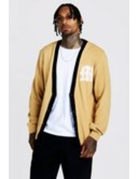 Gothic M Knitted Varsity Cardigan by Boohoo Man