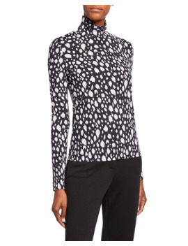 Snow Leopard Stretch Nuda Jersey Turtleneck Top by St. John Collection