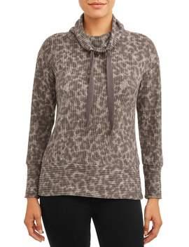 Como Blu Women's Leopard Cowl Neck Pullover by Como Blu