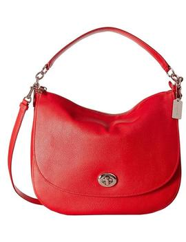 Crossbody Turnlock Pebble Shoulder True Red Leather Hobo Bag by Coach