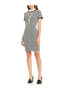 Houndstooth Knit Pearl Necklace Contrast Point Collar Dress by Karl Lagerfeld Paris