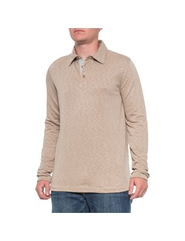 Visitor Khaki Polo Shirt   Long Sleeve (For Men) by Visitor