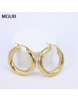 Mgub Big Earrings New Trendy Gold Color Hoop Earrings Jewelry Wholesale Round Large Size Hoop Earrings For Women Lheh74 by Ali Express.Com