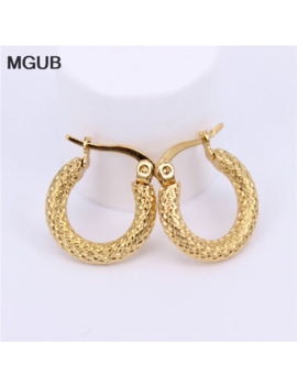 Mgub Gold Color Stainless Steel Women Hoop Earrings Girls Fashion Earrings Round Simple Hot Sale Diameter 17mm 21mm Lh571 by Ali Express.Com