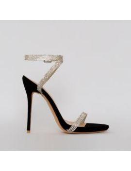 Savannah Black Suede Clear Diamante Heels by Simmigirl