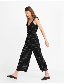 petite-ruffle-front-wrap-jumpsuit-in-grid-dot by madewell