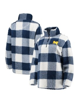 Michigan Wolverines Women's Plaid Sherpa Quarter Zip Pullover Jacket   Navy/Cream by Boxercraft