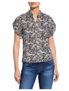 Sanaa Printed Roll Sleeve Shirt by Veronica Beard