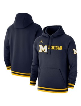 Michigan Wolverines Jordan Brand Basketball Retro Club Fleece Pullover Hoodie   Navy by Jordan Brand