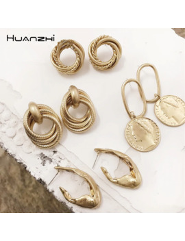 Huanzhi New 2019 Portrait Coin Pendant Geometric Irregular Fold Multi Layer Metal Circle Stud Earrings For Women Girl Party Gift by Ali Express.Com