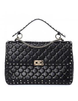 Valentino Lambskin Large Rockstud Spike Shoulder Bag Black by Valentino