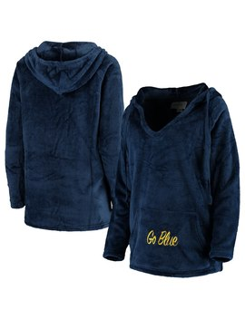 Michigan Wolverines Women's Missy Plush Super Soft V Neck Pullover Hoodie   Navy by Emerson Street