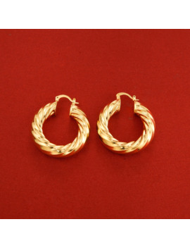 24 K Gold Color Mix Colors Twisted Circle Hoop Earrings Jewelry by Ali Express.Com