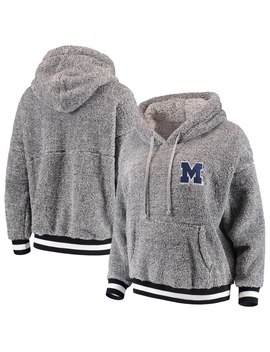 Michigan Wolverines Women's Fauxy Sherpa Contrast Rib Hoodie   Heathered Gray by Spirit Jersey