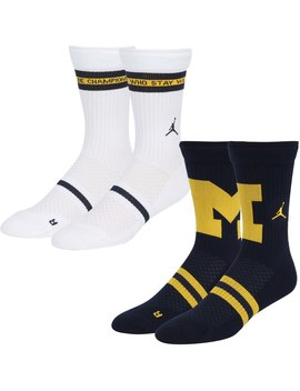 Michigan Wolverines Jordan Brand 2 Pack Home And Away Legacy Crew Socks   Navy by Jordan Brand