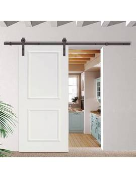 Paneled Manufactured Wood Primed Classic Bent Strap Barn Door With Installation Hardware Kit by Calhome
