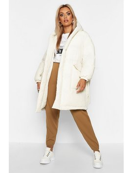 Plus Shawl Collar Belted Mid Length Puffer Coat by Boohoo