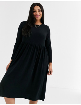 New Look Curve Ribbed Midi Smock Dress In Black by New Look