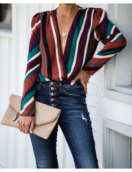 Retroactive Striped Drape Bodysuit by Vici