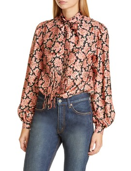 Paisley Print Silk Blouse With Removable Tie by Marc Jacobs