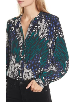 Buckley Mixed Print Stretch Silk Top by Veronica Beard