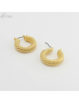 Aomu 2019 New Design Gold Silver Metal Thick Twisted Geometric Round Circle Small Hoop Earrings For Women Party Jewelry Gift by Ali Express.Com