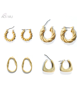 Aomu 2019 New Metal Gold Geometric Twisted Hollow Round Circle Irregular Teardrop Big Pearl Stud Earrings For Women Party Jewelr by Ali Express.Com