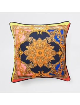 Navy Ornate Print Cushion by River Island