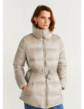 Belt Quilted Coat by Mango