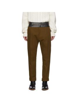 棕色撞色裤腰长裤 by Haider Ackermann