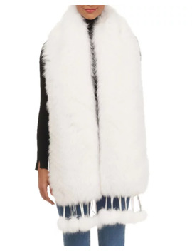 Gorski Feathered Shadow Fox Fur Boa Stole W/ Removable Leather Fringe by Gorski