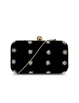 North Star Box Clutch In Black & Gold by From St Xavier