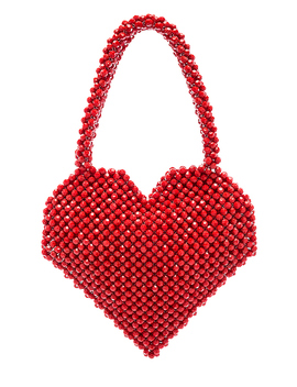 Maria Beaded Heart Tote In Red by Loeffler Randall
