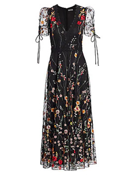 Floral Embroidered Mesh Midi Dress by Ml Monique Lhuillier