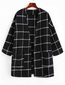 Zaful Patched Pockets Open Front Plaid Longline Coat   Black L by Zaful