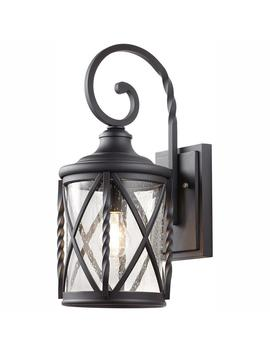 1 Light Black 18.75 In. Outdoor Wall Lantern Sconce With Seeded Glass by Home Decorators Collection