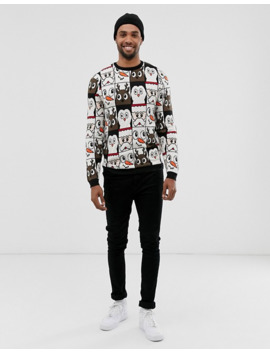 Asos Design Tall Christmas Jumper In All Over Design by Asos Design