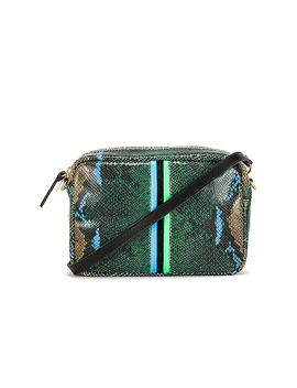 Midi Sac In Evergreen Snake, Cerulean, Black & Parrot Green by Clare V.