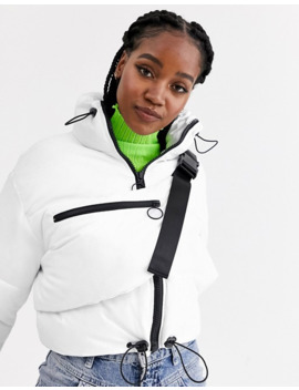 Asos Design Tech Puffer Jacket With Bum Bag In White by Asos Design