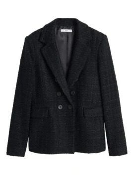 Carola Button Tweed Blazer by Mango