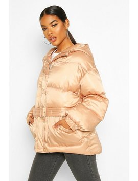 Satin Belted Puffer Jacket by Boohoo