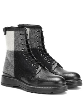 Check Leather Ankle Boots by Woolrich