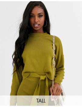 Missguided Tall Exclusive Two Piece Knitted Crop Sweater In Green by Missguided's