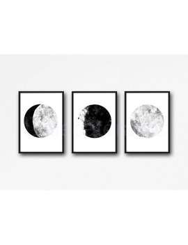 Moon Print Set Of 3 Moon Watercolor Painting Print Celestial Moons Phases Print Gift Wall Decor Home Wall Art Luna Art Prints Lunar by Etsy
