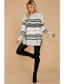 Soothing Sounds Light Grey Multi Stripe Sweater by Staccato