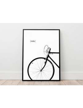 Bike Print, Bicycle Poster, Cycling Wall Art, Minimal Wall Decor, Ride A Bike Digital, Black And White Printable Art, Contemporary Decor by Etsy