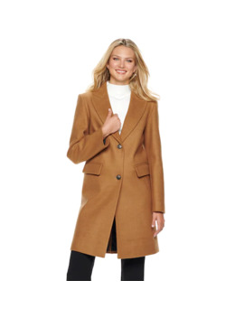 Women's Nine West Single Breasted Wool Blend Walker Jacket by Nine West