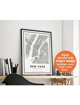 New York Map, New York Print, New York City Map, Manhattan Map Print, Nyc Map Print, Manhattan Poster, Ny Map, Map Of Nyc by Etsy